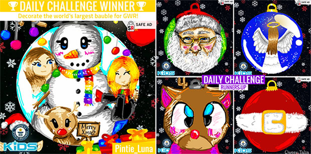 Daily Challenge Christmas bauble winners