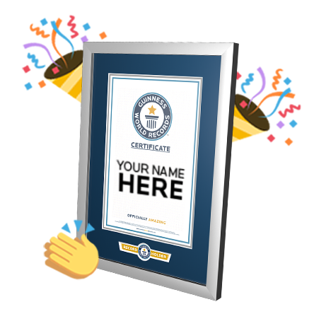 "Guinness World Records Certificate with ""your name here"" written on the front surrounded by confetti"