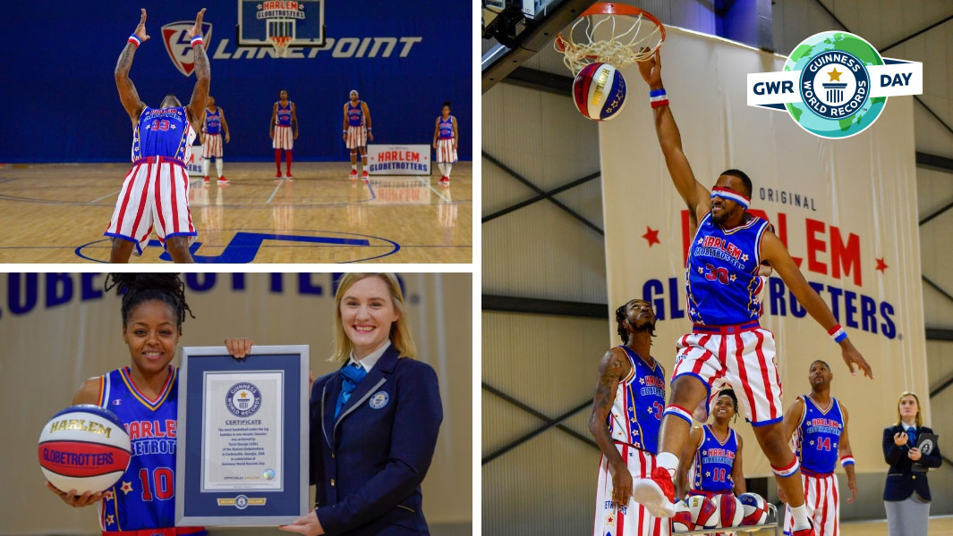 Highlights from the Harlem Globetrotters record attempts for Guinness World Records Day 2018
