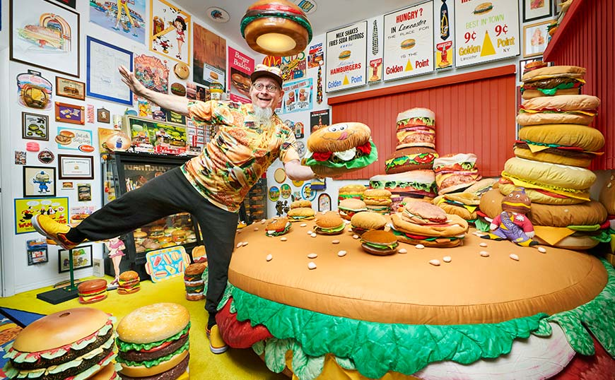 Largest collection of hamburger-related items large