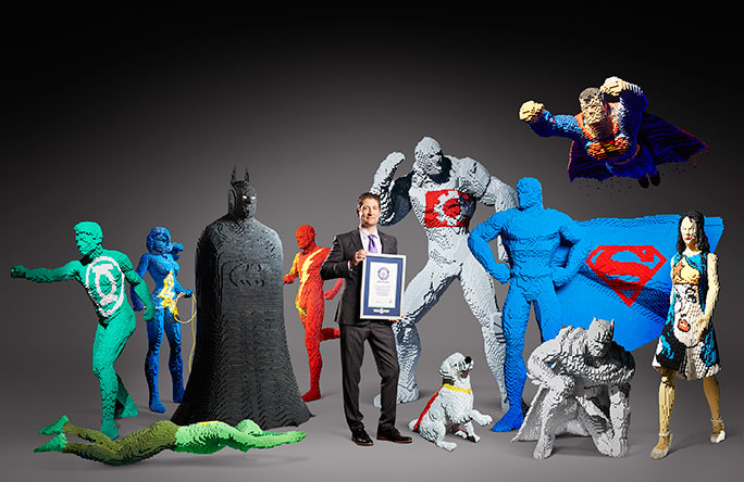 Largest display of outsized LEGO brick sculptures of superheroes