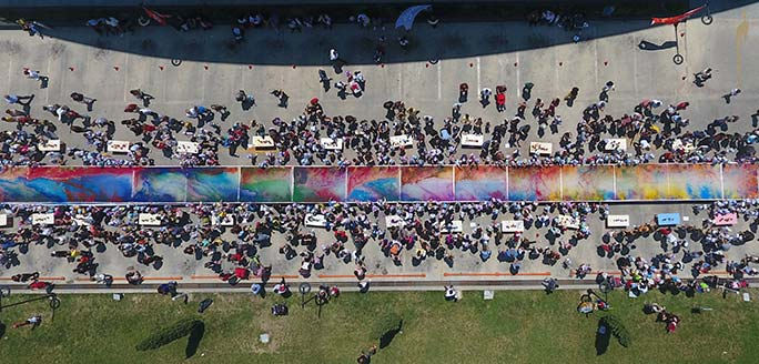 Largest fabric marbling painting aerial view