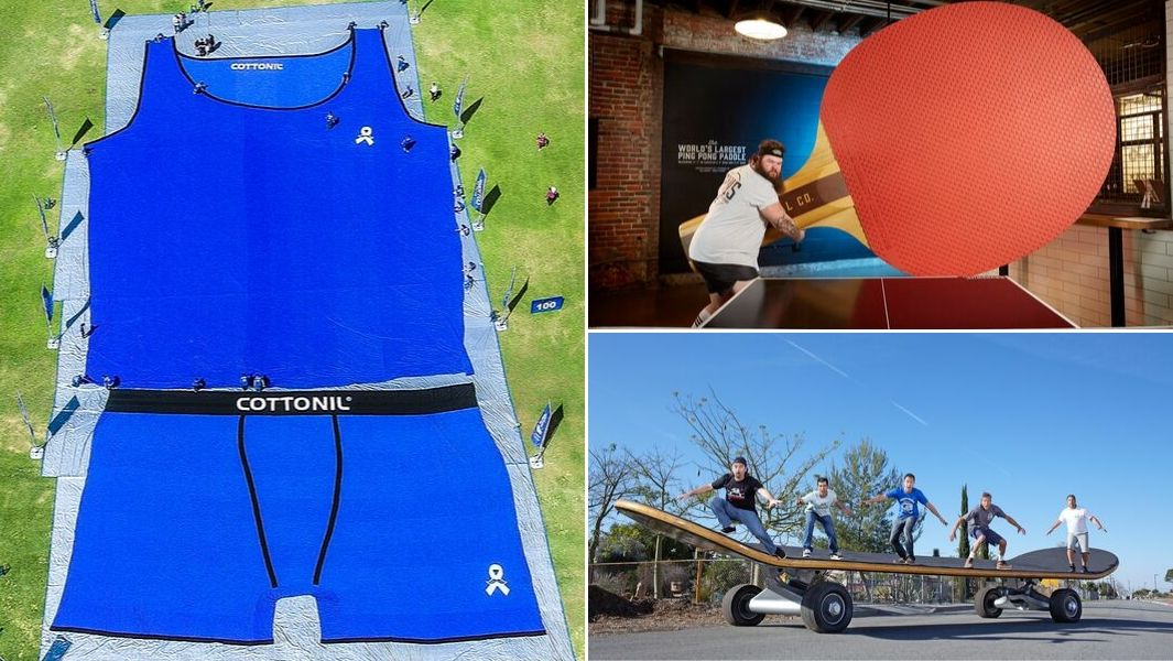 Largest underpants, largest table tennis bat and largest skateboard