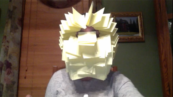 Most sticky notes attached to the face in one minute header