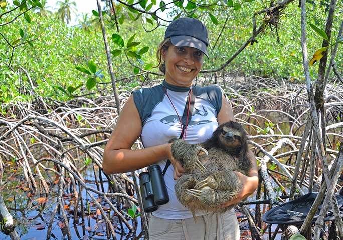 ZSL Edge of Existence conservationist Nisha Owen with a pygmy three-toed sloth on Isla Escudos de Veraguas, Panama