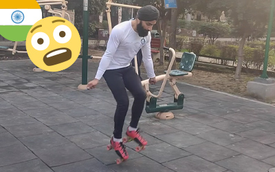 skipping on skates