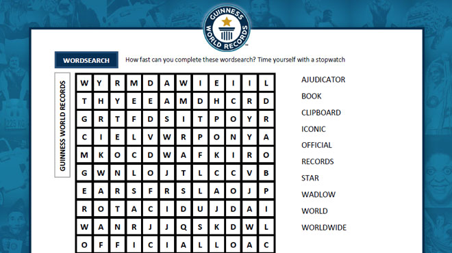Guinness World Records wordsearch image