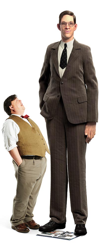 Illustration of GWR Editor-in-Chief Craig Glenday and tallest man ever Robert Wadlow