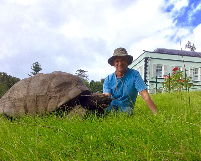 Vet Joe Hollins with his favourite tortoise, Jonathan