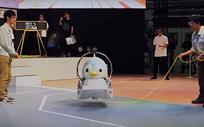 Jumpen the skipping penguin robot