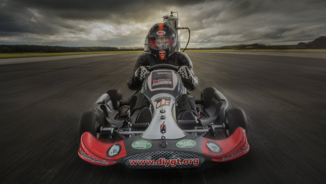 Check out this rocketing jet-propelled go-kart that can reach 112 mph!